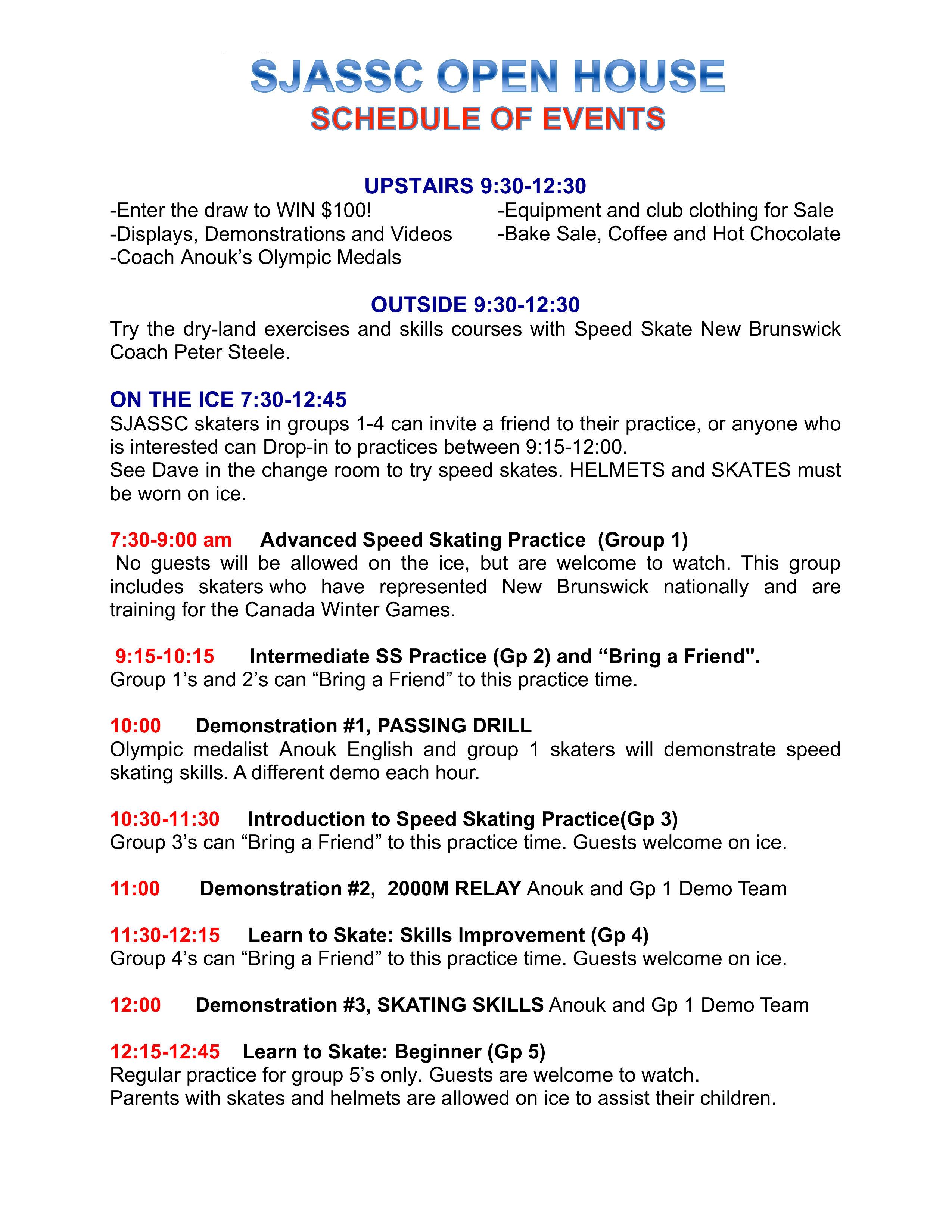 OPen House schedule 1